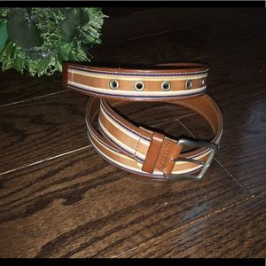 Other - Italian leather belt with fabric accent